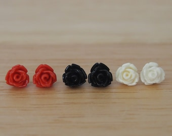 Classics trio of tiny rose earrings in red, black and white, 7.5mm, resin rose earrings, hypoallergenic steel posts