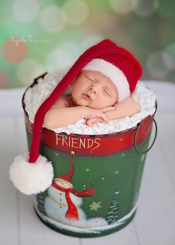 383f7a1d185 Santa Claus hat newborn photo prop. Santa sleepy cap.