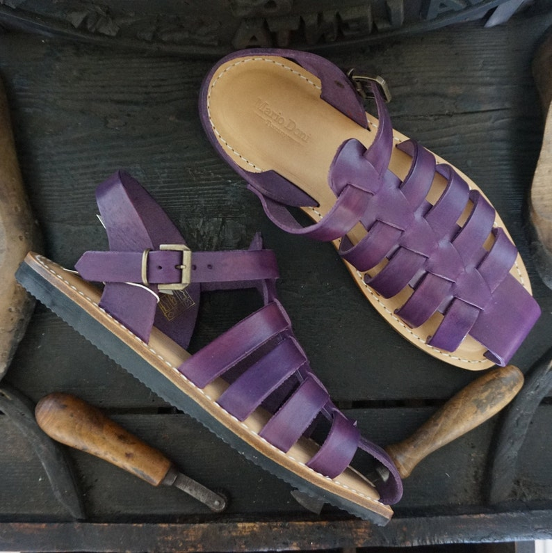 Man Sandal in leather hand made made in Italy Men handmade sandals in Vegetable tanned Leather Mario Doni customized colored
