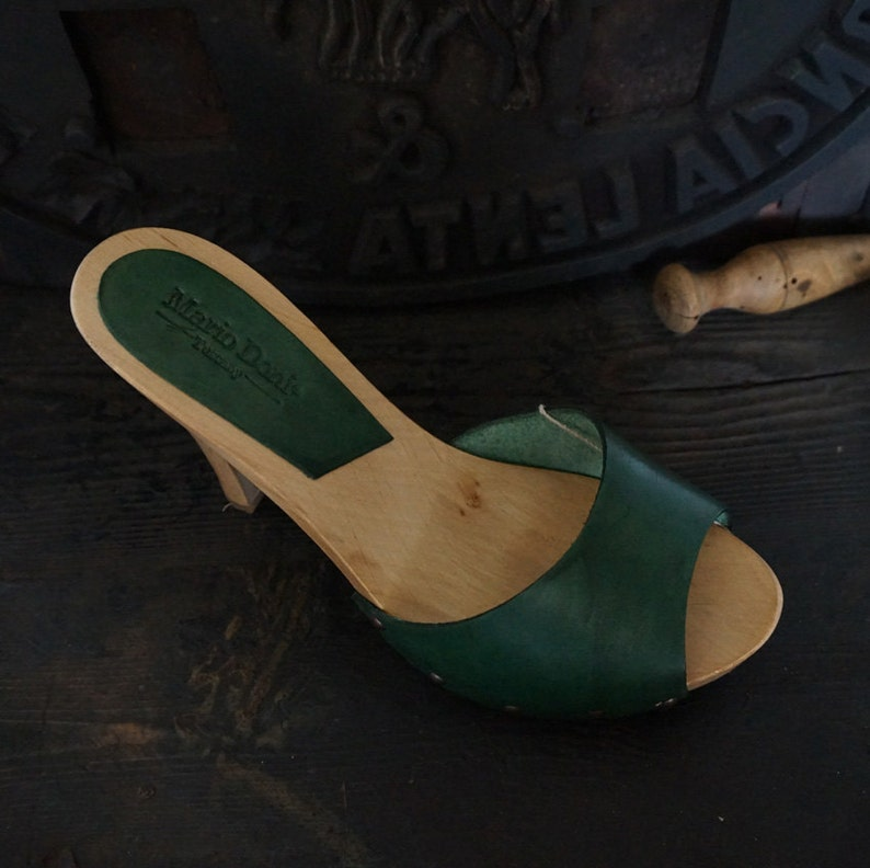 clog with high heel Mario Doni Handmade wooden clog in Vegetable tanned leather made in Italy hand made