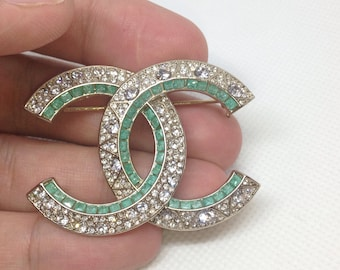2021459a494 Estate Sale Chanel Large Silver CC Multi Colored Crystal Pin Brooch