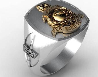 Royal Marines Bespoke Sterling Silver Ring Gold Plated Emblem