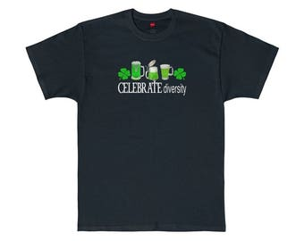 Celebrate Diversity St. Patrick's Day Drinking Lucky Irish Shamrock T-Shirt