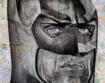 Batman- Poster print from original Michael Keaton-Batman Inspired Media Portrait  (2018) by Denny Stocke.