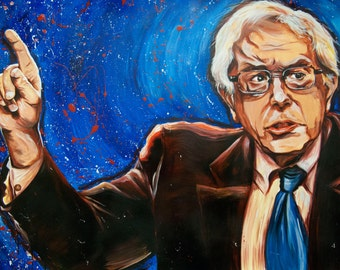 "Bernie Sanders Painting Fine Art Print from original ""Feeling It""-Painting on canvas by artist Denny Stocke"