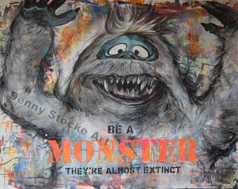 "Fine Art 18""x24"" Print from Mixed Media Original- ""Be a Monster"""