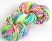 Handspun merino, multicolored yarn, soft, bulky, thick and thin, multicoloured, knitting, crochet, weaving, waldorf hair, baby prop