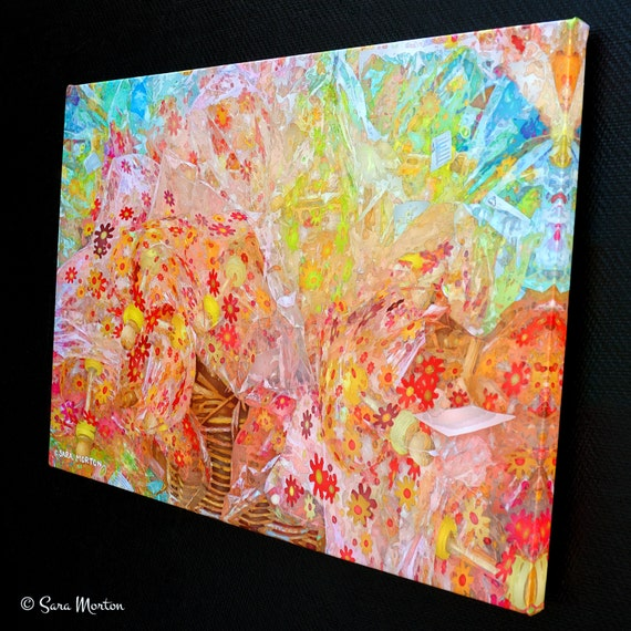 Modern Flower Wall Art Fine Art Digigraph Print On Canvas Abstract Bouquet Floral Patterns Flower Decor Pink Red Yellow Orange Color Pop
