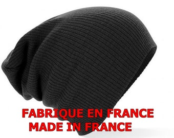 2f445618bb5 Made in FRANCE Retro vintage slouch beanie BLACK Opie sons of anarchy  outlaws grunge hippie boheme hobo hispter tuque slouchy slouch hat