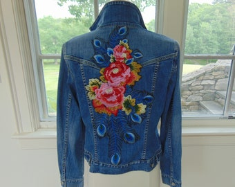 Denim Jacket - Floral Embellished Boho Denim Jacket - Sz. Med