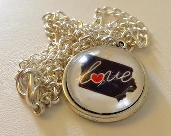 "Iowa Love 20"" Glass Pendant - State of Iowa with Love written across it, Iowa Pride, Love for Iowa"
