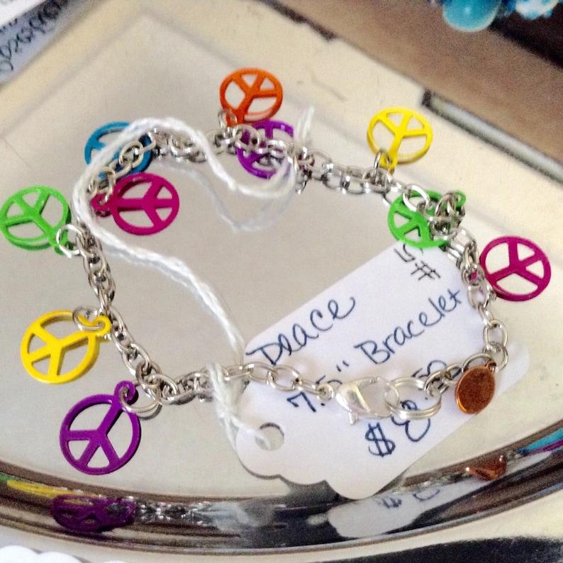 Handmade in the USA Peace 7.5 Charm Bracelet