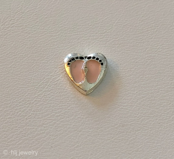 for glass floating lockets Pink Baby Girl FOOTPRINT HEART Floating Charm