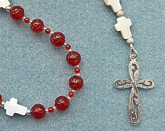Anglican Prayer Beads, Sterling Silver Cross with Carved Carnelian and Mother of Pearl