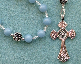 Angelite Anglican Prayer Beads, Ornate Sterling Silver Cross with Filigree Silver Beads and Clear Quartz