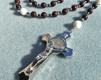 Catholic Dominican Five Decade Jasper Rosary with Saint Benedict Crucifix