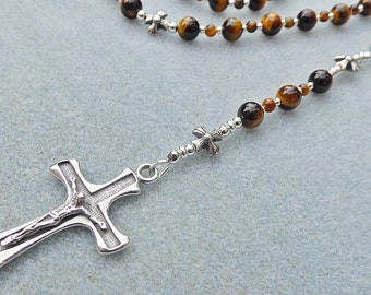 Catholic Dominican Five Decade Rosary with Tigers Eye and Sterling Silver