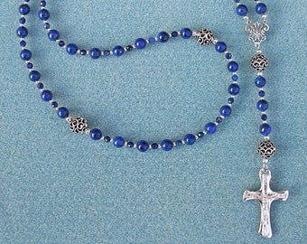 Sterling Silver Catholic Five Decade Rosary with Lapis Lazuli