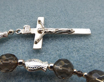 Catholic Five Decade Rosary with Smokey Quartz and Sterling Silver