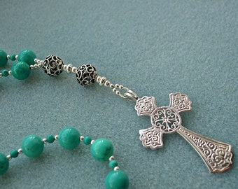 Turquoise Anglican Prayer Beads, Protestant Rosary, Ornate Sterling Silver Cross with Filigree Silver Beads
