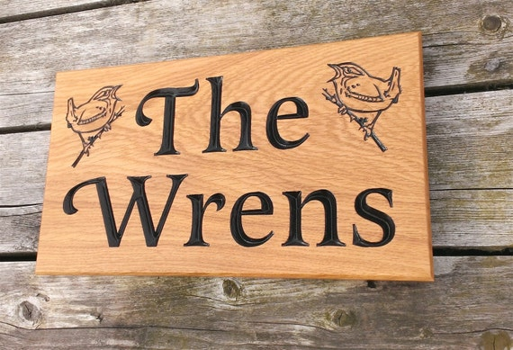 Solid Oak Engraved Personalised House Signs 380mm X 220mm With Two Wrens Design Home Name Plate Plaque