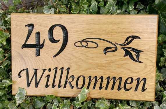 Solid Oak Engraved Personalised House Number Signs 380mm X 220mm With Optional Image Carved Home Name Plate Plaque