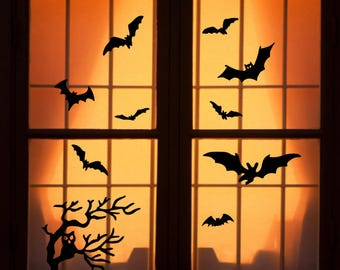 reusable halloween window clings owl on branch with bats wch 1008