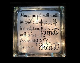 Friendship Gift - Footprints in Your Heart Lighted Glass Block - Friendship Quote Nightlight - GB-1063