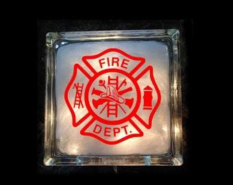 Firefighter Lighted Glass Block - Fireman Night Light - GB-1049