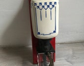 Antique french wall coffee grinder- ceramic white and blue mounted coffee mill - early century