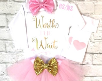 62a68bf22016 Baby Girl Clothes Worth the Wait Bodysuit Worth the Wait