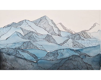 Watercolor Rocky Mountain Line Print
