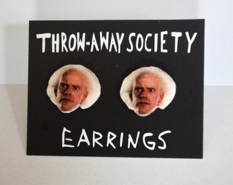 Doc Brown Christopher Lloyd Back to the Future Earrings Stud Earrings Jewelry Accessoires Actor Face Head Fan Earrings Photo Picture