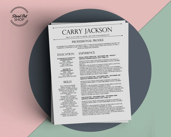 Carry Jackson Modern 2 Page Fancy Resume Cover Letter Template For Microsoft Word