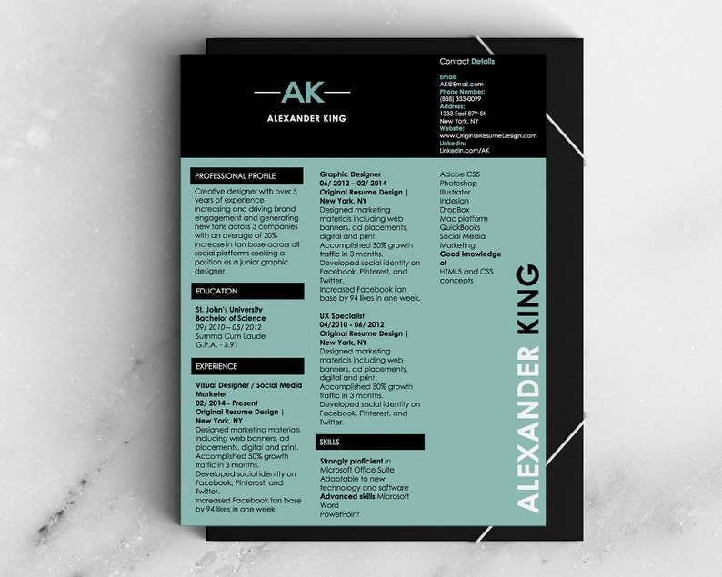 Magazine Style Resume and Cover Letter Microsoft Word Temaplte