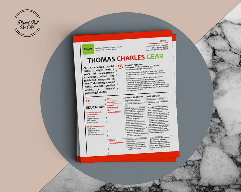 Thomas Gear Creative Magazine Inspired Infographic Resume and Cover Letter  Template for Microsoft Word