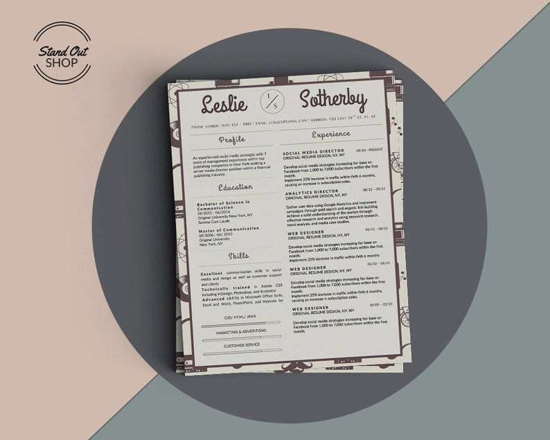 Hipster Creative Resume CV Template For Microsoft Word