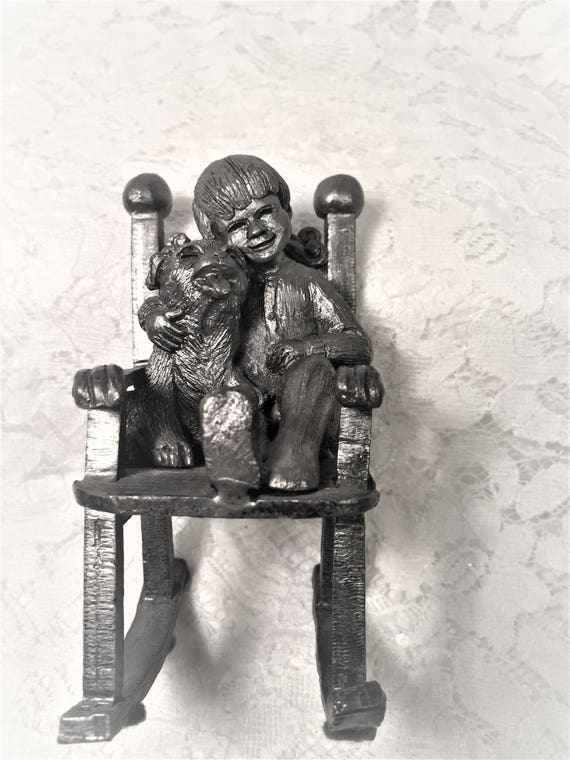 Sensational Collectible Michael Ricker Cast Pewter Sculpture Raywith Dog In Rocking Chair 1984 Part Of Childrens Series Limited Edition Frankydiablos Diy Chair Ideas Frankydiabloscom