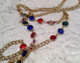 Vintage Faceted Faux Glass Jewel tones Necklace with Gold Chain and Gold beads, Korea 1970's.