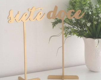 Wedding table numbers. Wedding signs. Table numbers gold. Rustic signs. Table decoration. Numbers with base.Wood table numbers