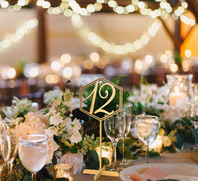 Hexagon Table Numbers Wedding Signs Table Numbers Gold Table image 0