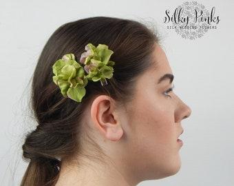 Hair Accessories - Green Hydrangea Hair Clips - Green Hair Clasps - Floral Hair Clip - Floral Hair Clips - Hair Decorations - Wedding Hair