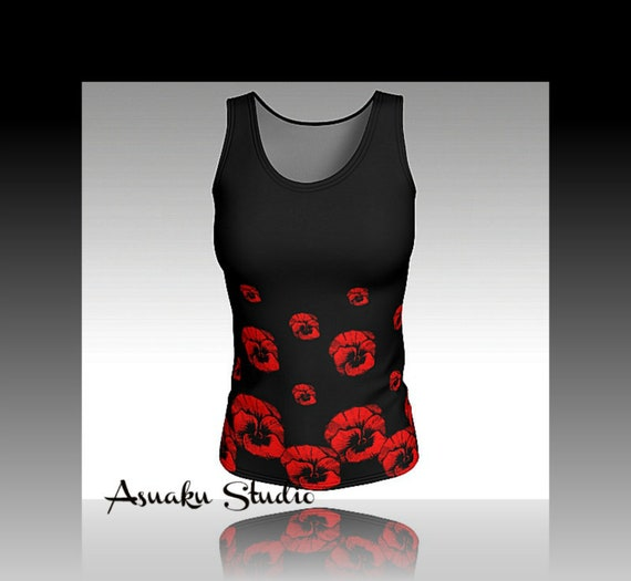 1101377650403 Tank top floral black red fitted topworkout wearpansy