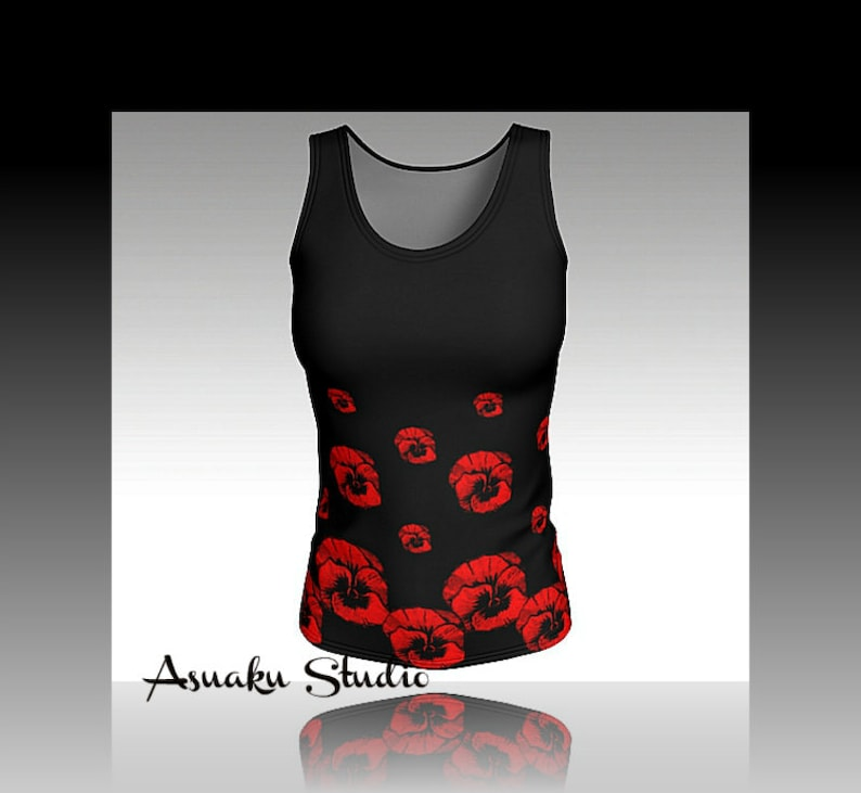 82da4a30e0 Tank top floral, black/red fitted top,workout wear,pansy flower print,  womens gift Asuaku Studio