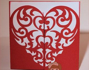 Teddy Bear Valentine Layered Card-Valentines-Valentine Card-Bear Card-Holiday Card-Greeting Card-Handmade Card