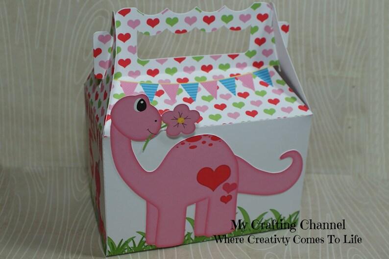 Small Personalized Dinosaur Birthday Treat Boxes Girl Favor Box Birthday Box Goodie Bags