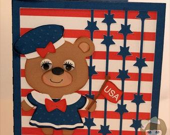 Teddy Bear July 4th Layered Card-Bear Card-4th of July Card-July 4th Card-Dimensional Card-Greeting Card-Handmade Card
