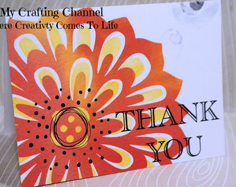 Thank You Card 45-Watercolor Card-Thanks Card--Greeting Card-Handmade Card-Printed Watercolor