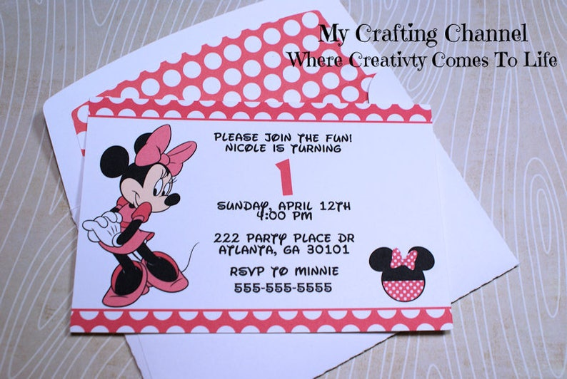 Set Of 12 Dark Pink Minnie Mouse 1 Birthday Invitations With
