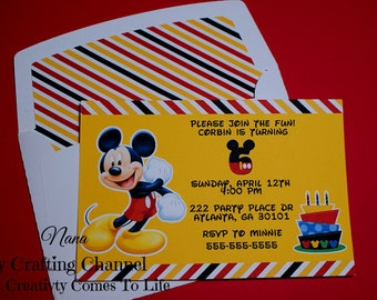 Set of 12 Mickey Mouse #2 Birthday Invitations With Matching Envelopes,Mickey Mouse,Invites,Invitations,Birthday,Birthday Invitations